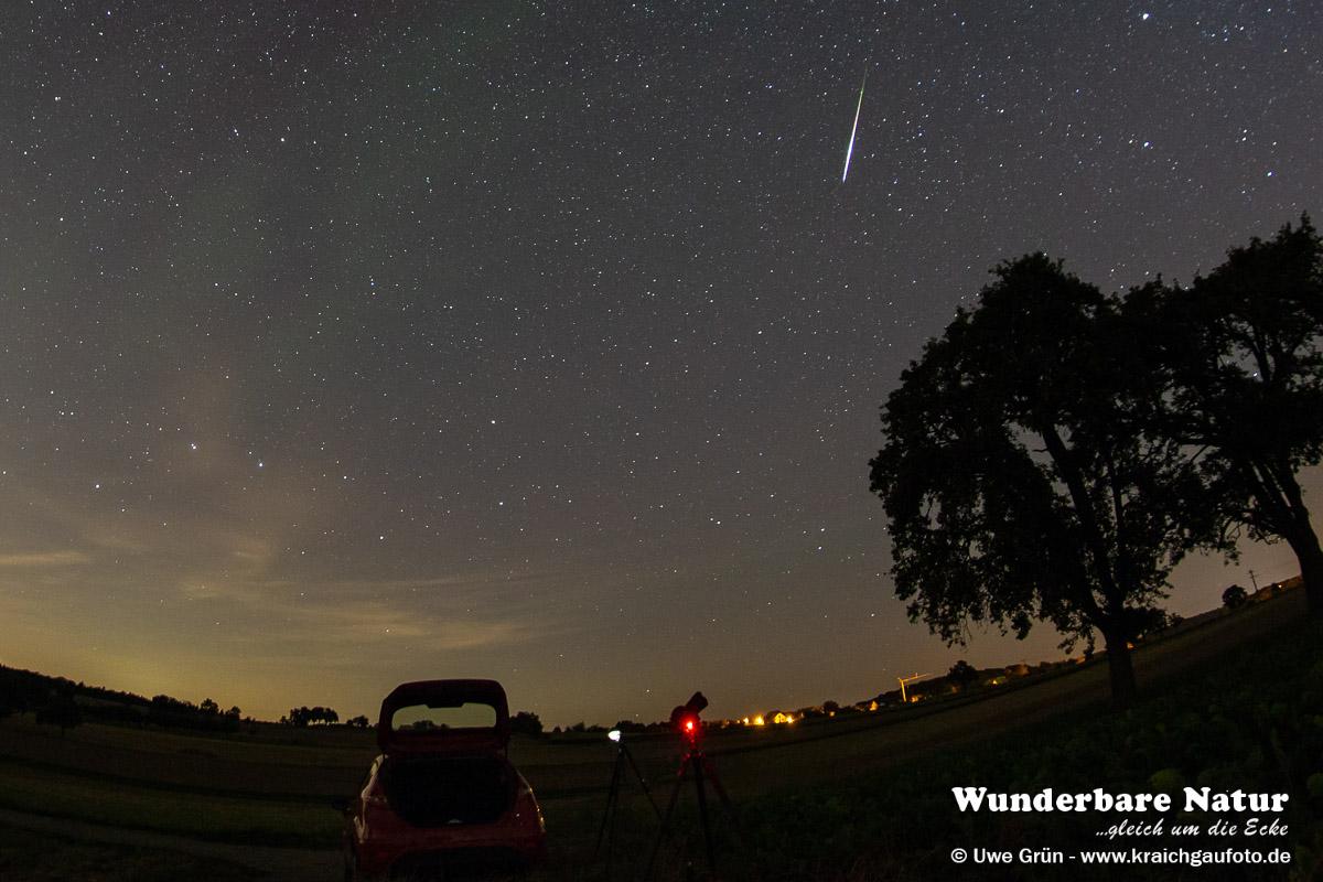 Aufnahme des Nachthimmels während des Maximums des Perseiden Meteorstromes